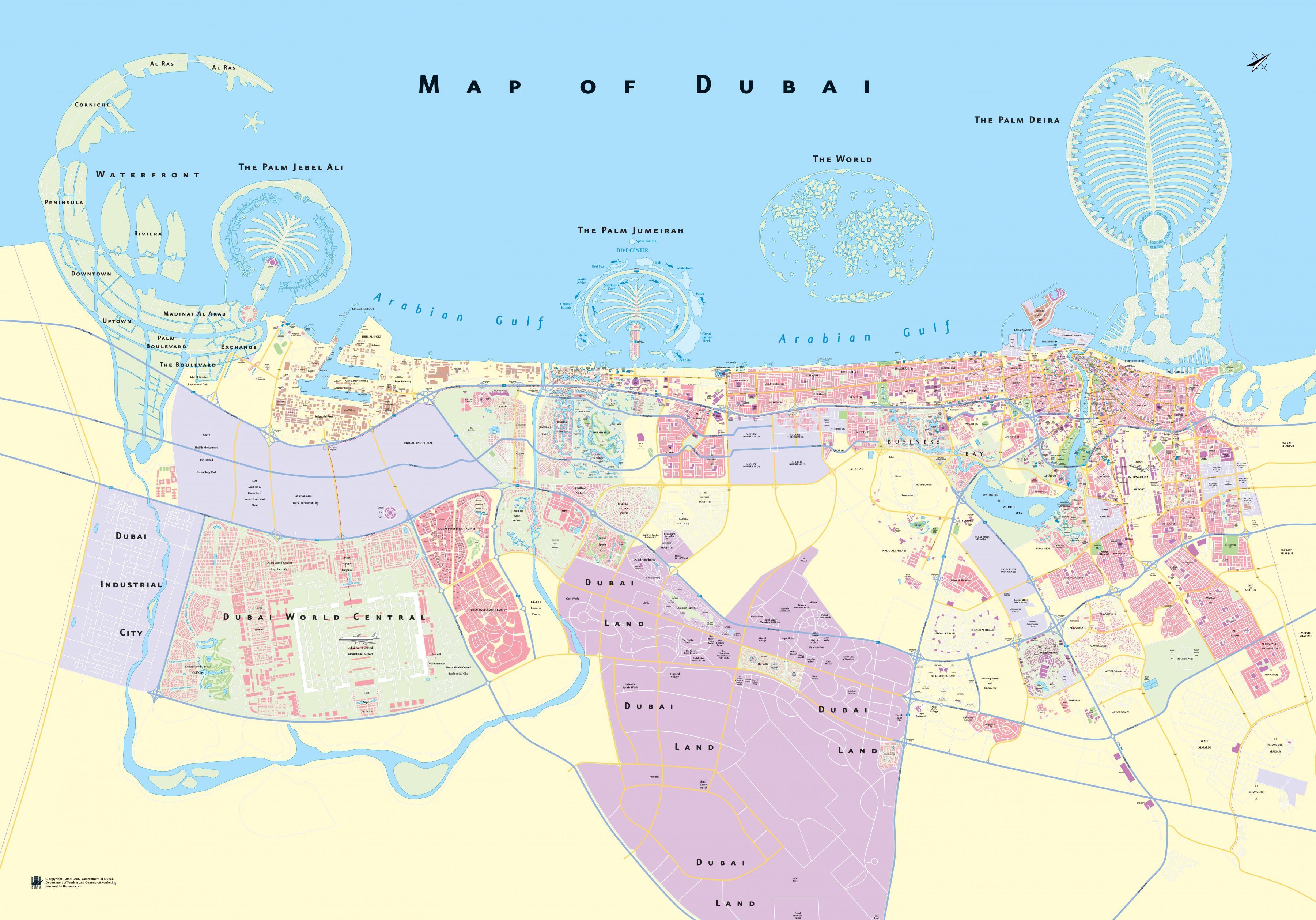 Dubai Reittikartta Reitti Kartalla Dubai Yhdistyneet