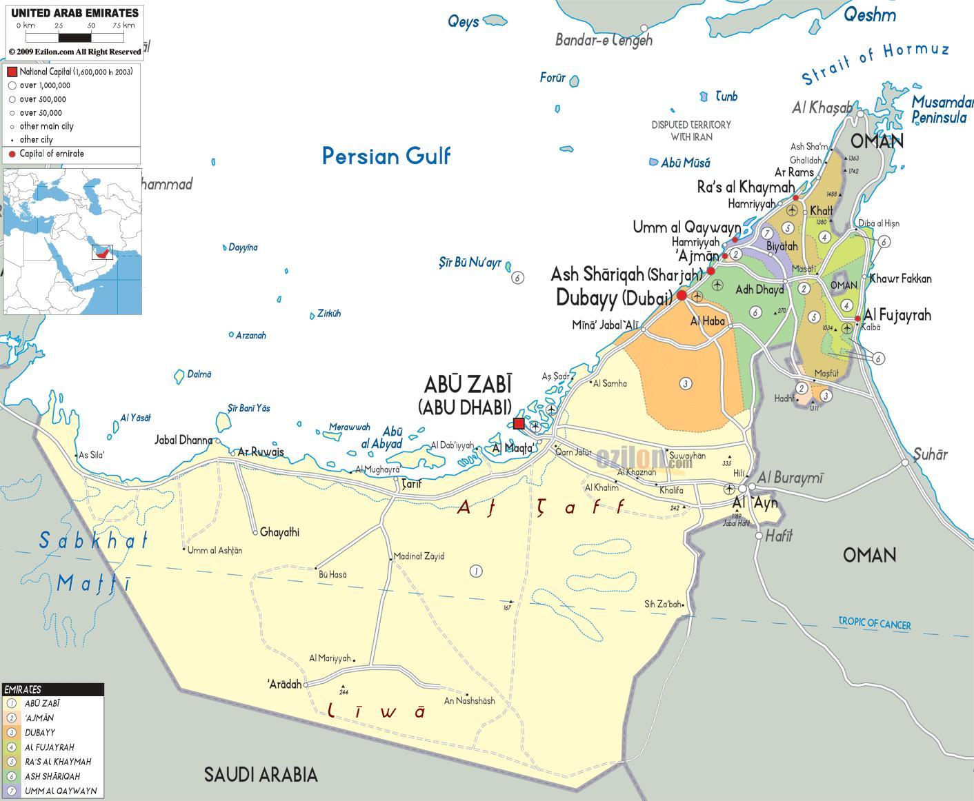 Dubai Yhdistyneet Arabiemiirikunnat Kartta Kartta Dubai